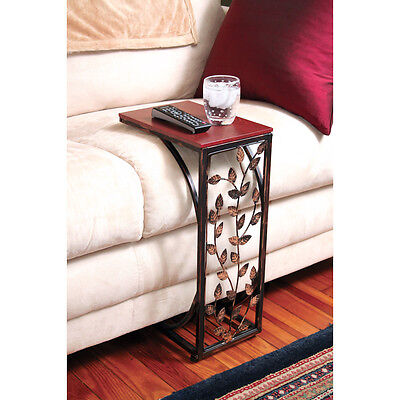 Leaf Side Sofa End Table - Wood Top & Metal Frame Couch TV Tray