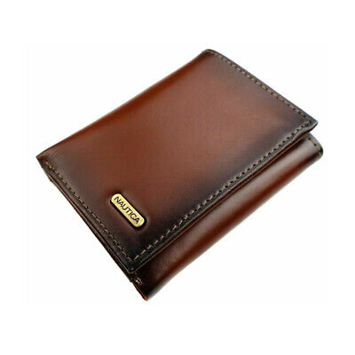 Nautica Men's Leather Trifold Wallet Tan One Size Clothing, Shoes & Accessories