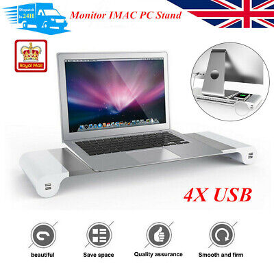 Monitor IMAC PC Laptop Metal Stand USB Phone Charger Port Rack Support UK Stock