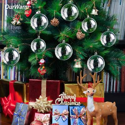 50xDIY Clear Glass Transparent Balls Gift Box Baubles Xmas Tree Hanging Ornament ()