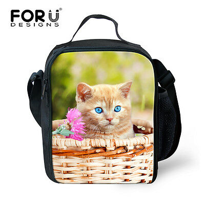 Cute Cat Lunch Bag Kids' Insulated School Lunch Box Containe