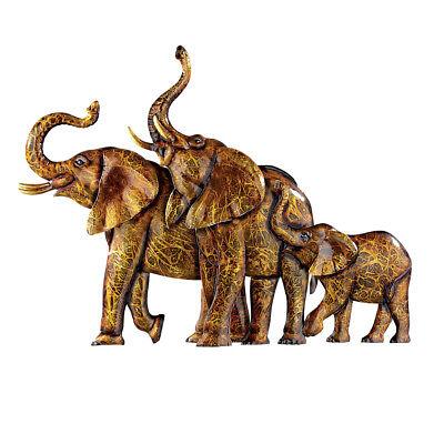 Elephants Metal Wall Art 3D Safari African Décor for Living Room, Bedroom