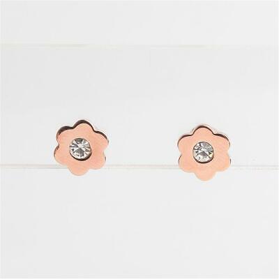 Michael Kors In Full Bloom Floral Crystal Stud Earrings Rose Gold Tone