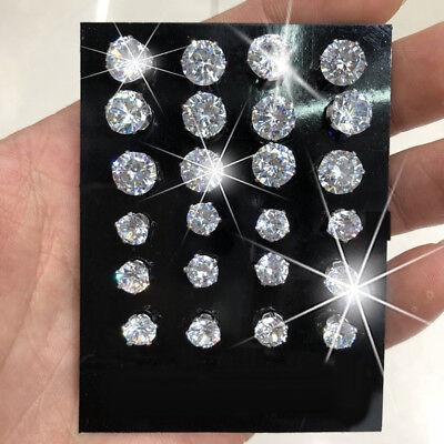 12 Pairs/Set Wedding Cubic Zirconia Stud Earrings Ear Hook Prom Women Gift