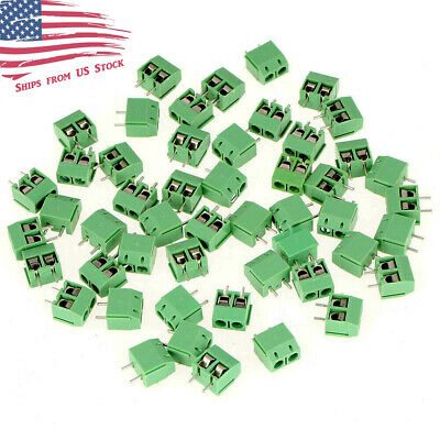 25 Pcs 2-Pin Screw Terminal Block Connector 5mm PCB Mount Green KF301-2P 25X US