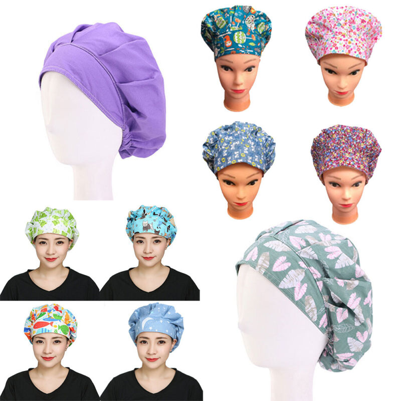 Unisex Solid Floral Doctor Nurse Hat Cotton Bouffant Working Surgical Scrub Cap
