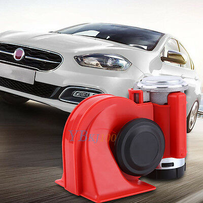 12V Car Truck Snail Compact Dual Tone Electric Pump Siren Loud Air Horn Red