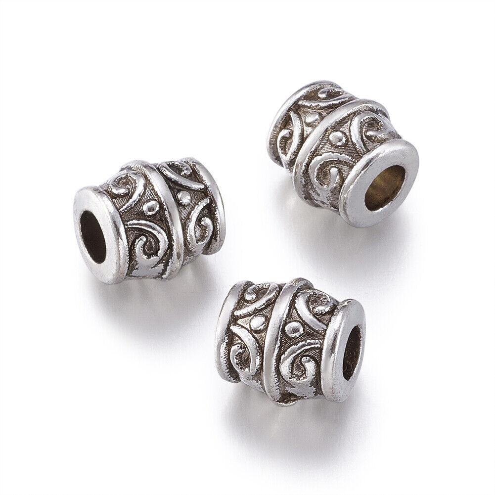 20pcs Tibetan Silver Metal European Beads Large Hole Column Charms Carved 11.5mm