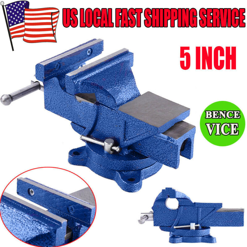5-in Heavy Duty Vise Clamps Locking Bar Bench Grip Tools Wit