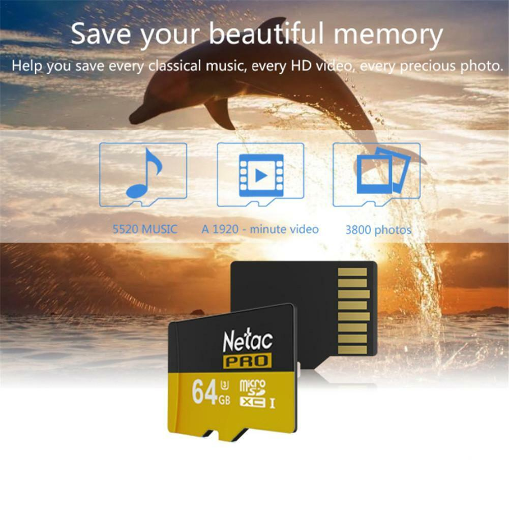 Ultra New 64GB Micro SD Flash Memory Card Netac Class 10 UHS