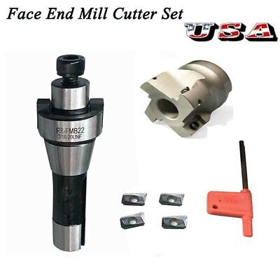 400r 50mm Face End Mill Cutter R8 Fmb22 Arbor 4x Apmt1604 Carbide Inserts Tool