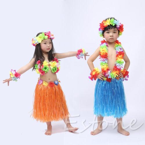 Kids Flower Grass Skirt Party Dress Hawaiian Hula Beach Dance DIY Costume 2-5Y | eBay