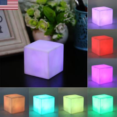 Cube Mood Night Light LED 7 Color Changing Mood Table Lamp Home Party Decoration - Led Cube Lights Decorations