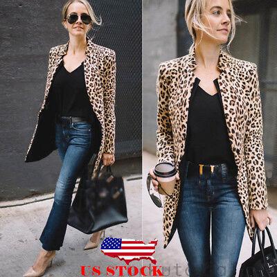 US Leopard Jacket Women Sweater Top Warm Casual Winter Cardigan Long Sleeve Coat