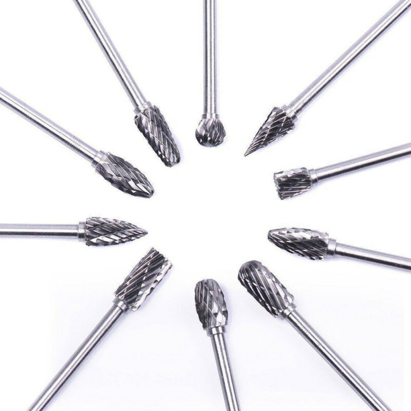 10x Tungsten Steel Solid Carbide Burrs for Dremel Rotary Too