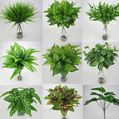 Artificial Plants Fake Leaf Foliage Bush Home Office Garden Flower Wedding - Leaf Decor