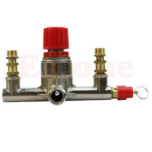 Double Outlet Tube Regulator Valve Zinc Alloy Air Compressor Pressure  Fit Parts