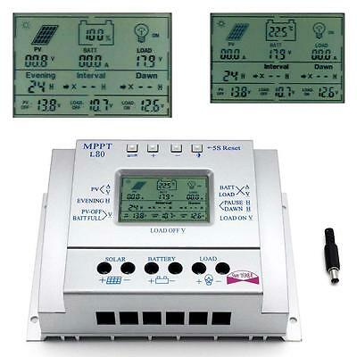 80A MPPT Solar Panel Regulator Battery Charger Controller 12/24V With LCD USB XI