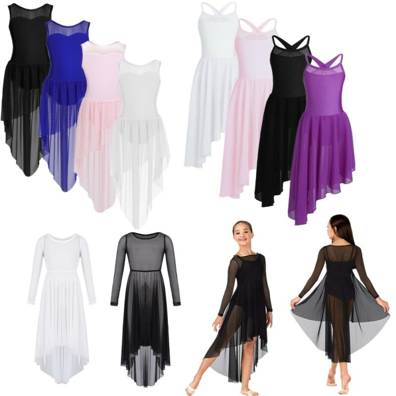 Girls Latin Lyrical Gymnastics Leotard Dress Ballet Dance Costume Kids Dancewear