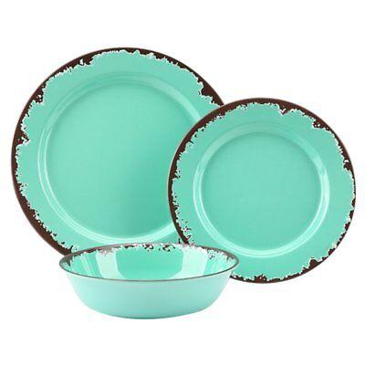 Rustic Melamine Dinnerware Set - 12 Pcs Yinshine Outdoor