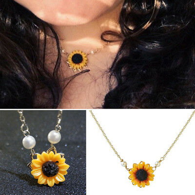 Women Fashion Sunflower Imitation Pearl Pendant Clavicle Necklace Jewelry Cheap](Cheap Necklaces)