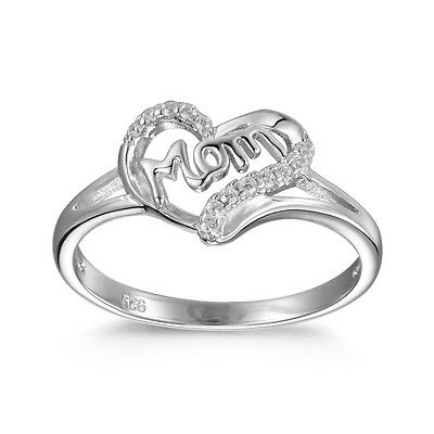 Sterling Silver 925 Mothers Day Gift Ring Ladys Womens Heart Round Cut Band