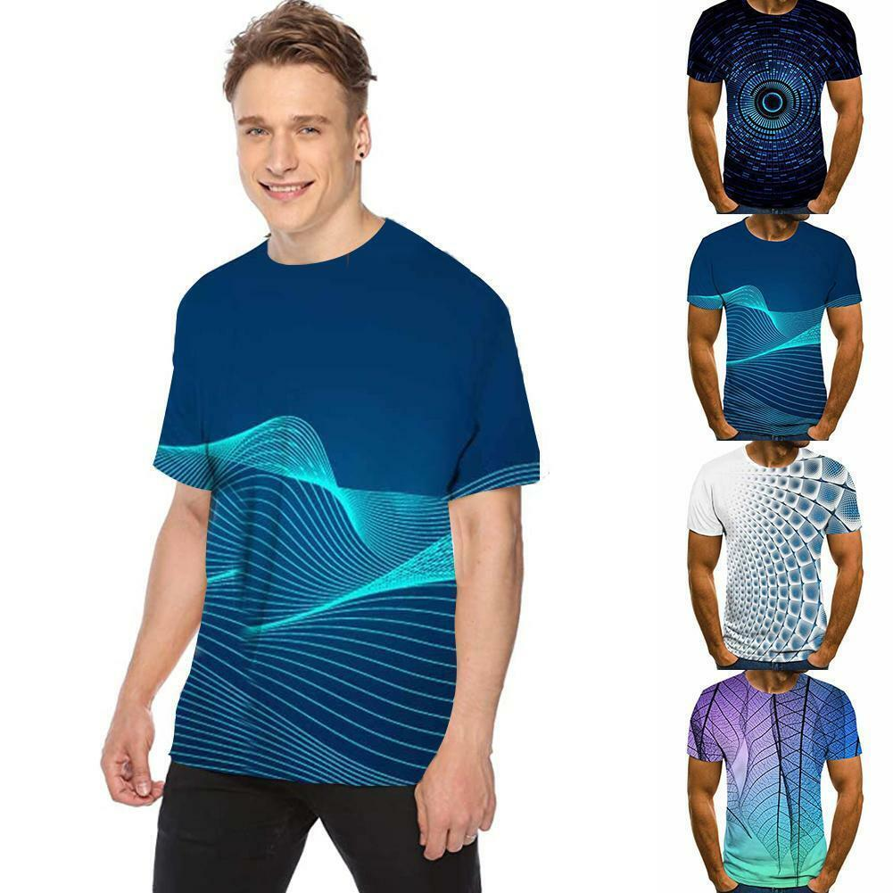 Funny Hypnosis 3D T-Shirt Men Colorful Print Summer Crew Short Neck Sleeve H5R1