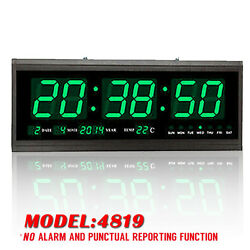 Green Digital Large Jumbo LED Wall Desk Clock Calendar Temperature Practical