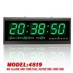 Green Digital Large Jumbo LED Wall Desk Clock Calendar Temperature Practical