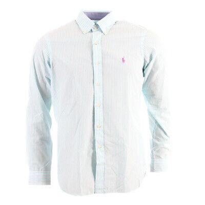 Stretch-baumwolle Hemd (Polo Ralph Lauren Hemd Blau & Weiß Gestreift Stretch Baumwolle)