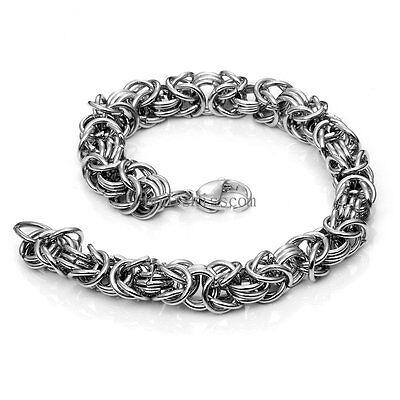 Chunky Heavy Byzantine Chain Stainless Steel Men's Bracelet Silver Tone 8.6 Inch