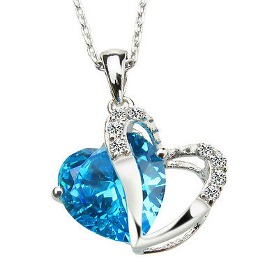 925 Sterling Silver White Gold Plated Heart Shape Crystal Pendant Necklace on Rummage