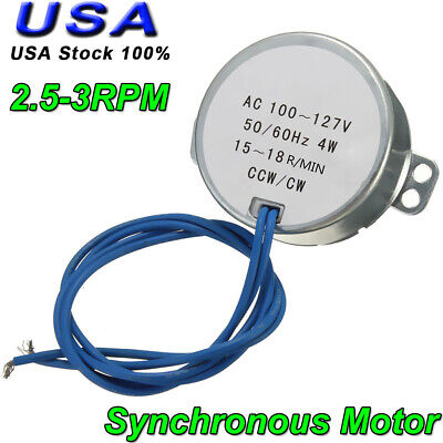 Tyc-50 Ac Synchronous Motor 2.5-3rpm Cwccw 4w Torque 12kgf.cm Silver 110v