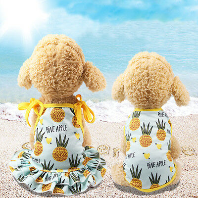 Cute Pineapple Pet Dog Cat Dress/Vest Summer Costume Apparel Couple Outfit Beamy - Couple Cat Costumes