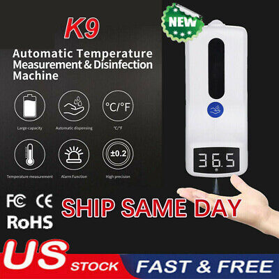 Wall-mounted Non-contact Digital Thermometer 2-in-1 1000ml Soap Dispenser Hot
