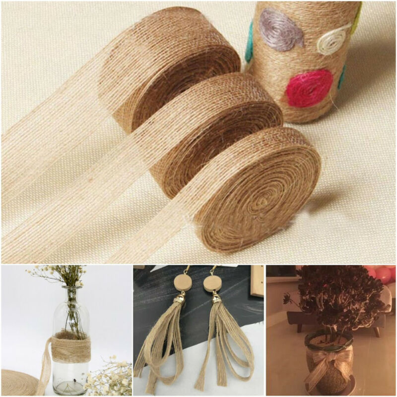 5M Jute Burlap Braided String Hessian Ribbon Rope Tape Wedding Party Craft Decor