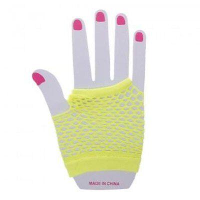 Neon Farben Shorts Fischnetz Kostüm Fingerlose Handschuhe Gelb - Neonfarbene Kostüme