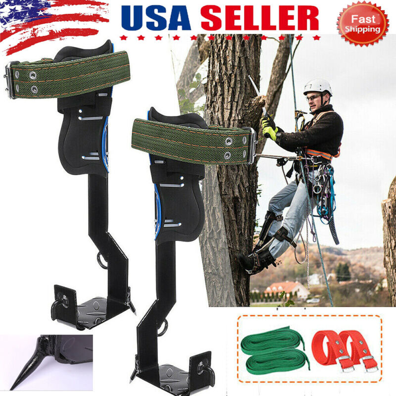 Tree Climbing Spike Set Safety Belt W/Gear Adjustable Lanyard Rope Rescue Belt