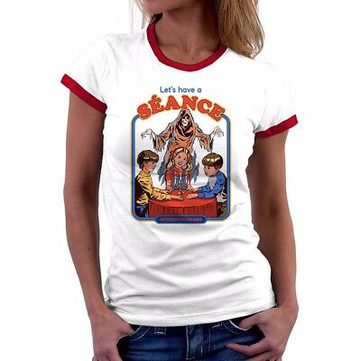 Halloween Shirts Womens (Let's Have a Seance Funny T-Shirt Womens Cotton Short Sleeve Halloween Tee)