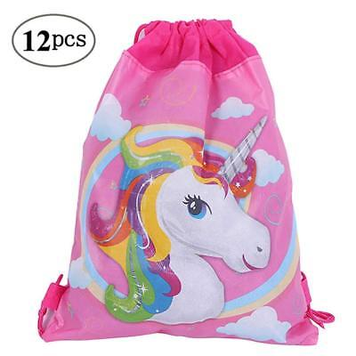 12 Pack Unicorn Party Bags Drawstring Gift Goodies Favors Bags Supplies for Kids (Kids Party Bags)