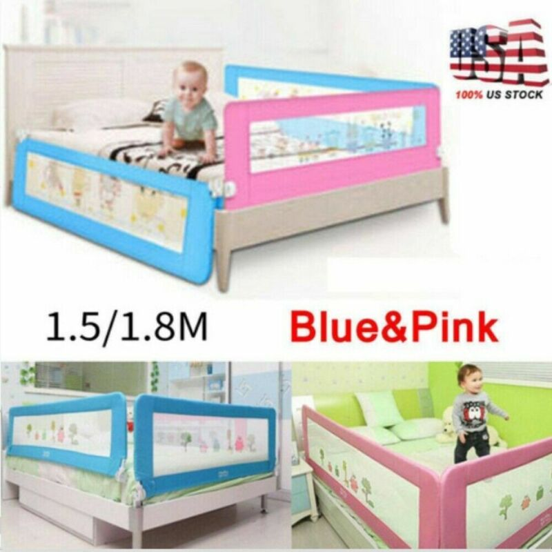 Safety Bed rail/BedRail Cot Guard Protection Child toddler Kids Pink/Blue 1.5M