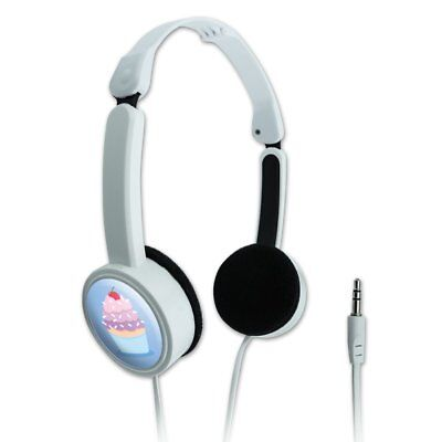 Cherry Headphone - Cute Cupcake Vanilla Cherry with Sprinkles Portable Foldable On-Ear Headphones