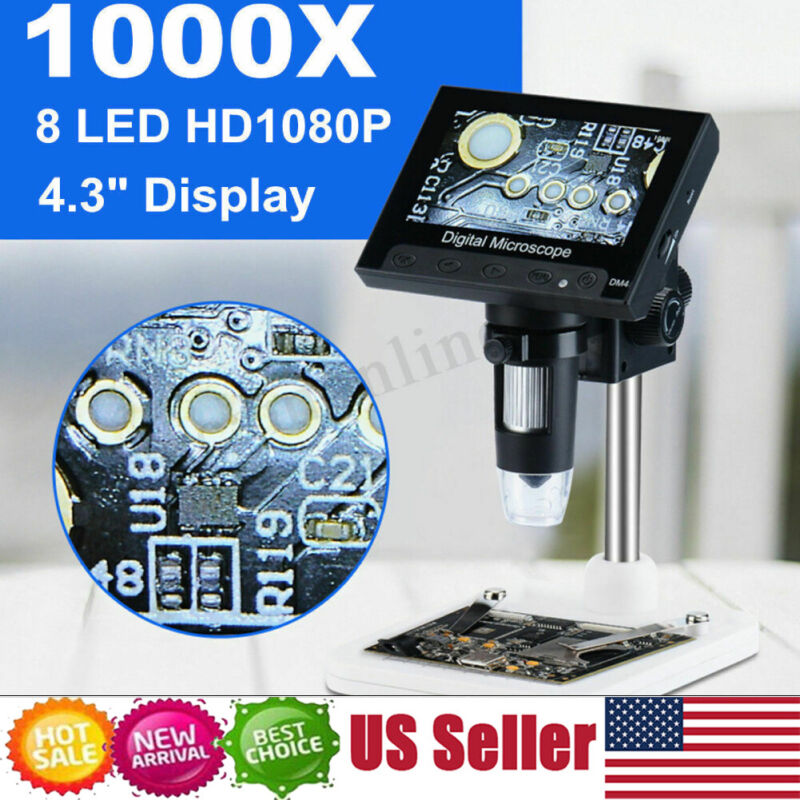 1000X Zoom Digital Video Electronic Microscope HD 720P 8LED w/ 4.3