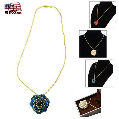 Golden Necklace Chain with 24k Gold Dipped Real Rose Pendant Gift 30mm US
