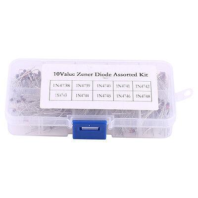 200pcs 10value 1n47381n4748 1w Zener Diode Assorted Kit 8.2v22v Clear Box Ob