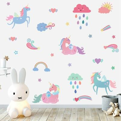 Rainbow Unicorn Wall Decal Colorful Clouds Wall Sticker Baby Girls Room