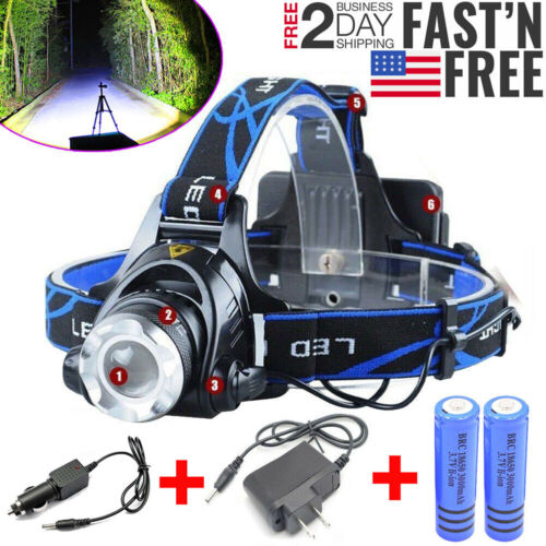 990000LM Rechargeable Headlight LED Tactical Headlamp Zoom T