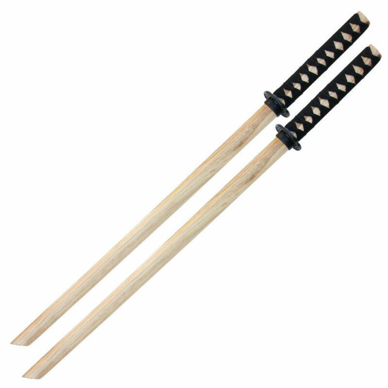 "Set of 2 40"" Natural Wood Color Wooden Bokken Practice Sword Training Samurai"