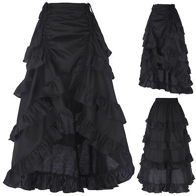 Victorian Long Ruffle Bustle Skirt Women Ladies SteamPunk Retro Gothic Dress AA.