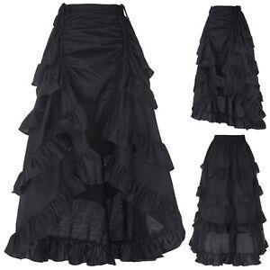 donna-retro-Vittoriano-Gothic-lungo-a-balze-TRAMBUSTO-Steampunk-abito-nero